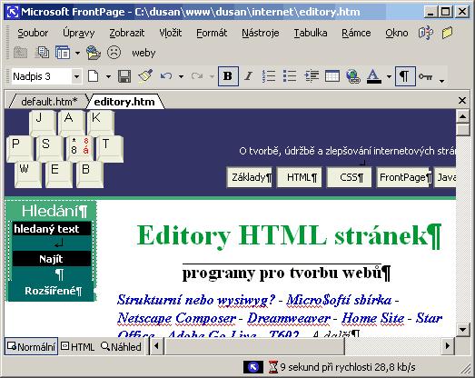 Tato stránka upravovaná ve wysiwyg editoru FrontPage 2002